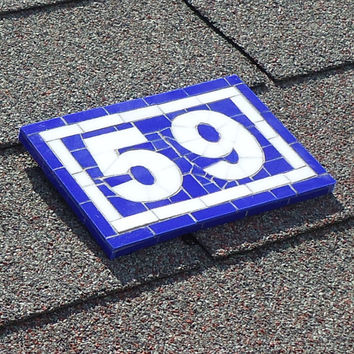 Mosaic House Number - Custom Two Digit Address Sign - Blue and White