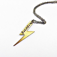 Bazinga! Flash Necklace Inspired by Sheldon Cooper of Big Bang Theory: hand stamped lightning charm, superhero jewelry