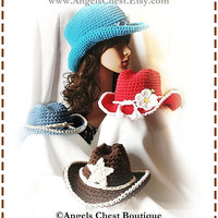 COWBOY Crochet Hat Pattern Size Newborn to Adult Boutique Design - No. 53 by AngelsChest