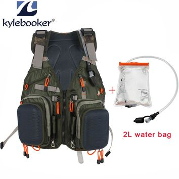 New Fly Fishing Men Vest Fishing hunting Backpack Outdoor sports  Mesh Backpack Bag +2L Hydration Water Pack Bladder