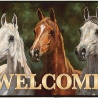 Head's Up Horse Design Welcome Doormat