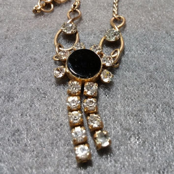 """Lovely 50s Vintage Van Dell Gold Filled Lavalier Necklace w/Rhinestones, 15-1/2"""""""