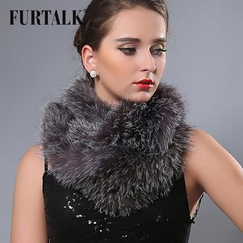 Fur talk 140*14cm extra long natural fox fur wraps infinity fur scarf snood for women