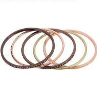 Five Bracelet Bangle Stack in Rose Gold, Chocolate Gold, Matte Gold Tone with Hematite and Clear Crystals