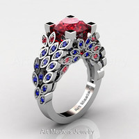 Art Masters Nature Inspired 14K White Gold 3.0 Ct Rubies Blue Sapphire Engagement Ring Wedding Ring R299-14KWGBSR