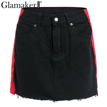 Glamaker Sexy stripe black summer mini skirt Tassel fringe denim skirts Womens high waist party streetwear pencil skirt bottom