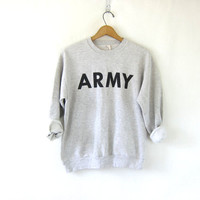 Vintage light gray distressed Grunge sweatshirt. United States Army gray sweatshirt / size small