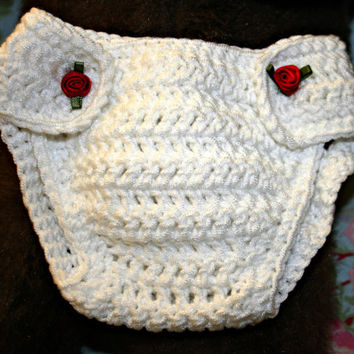 Baby crochet diaper nappy cover crochetyknitsnbits high quality baby girl clothes white  layette baby shower gift New born 0 to 3 months