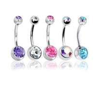 "Lot of 5 Pc Double Jeweled CZ Crystal Gem Belly Button Navel Rings 316L Surgical Steel 14 Gauge (5 Pieces)14G 3/8""(1.6mm~10mm) + 1 Free Belly Retainer: Jewelry: Amazon.com"