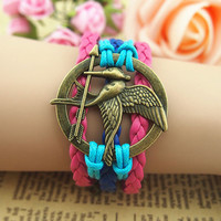 NT0098 Sword of lovebirds love birds Leather Bracelet