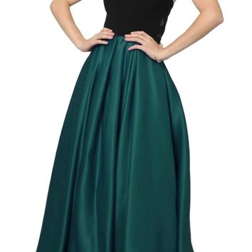 Two Tone Sweetheart Ball Gown Style Prom Dress Black/Green