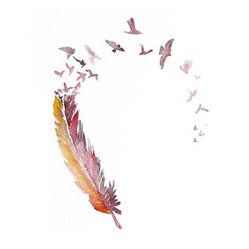 LOVE bird feather ART PRINT 12X16 original watercolor by PortLove