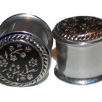 "Silver Etched Flowers Plugs - 1 Pair - Sizes 0g, 00g, 7/16"", 1/2, 9/16"