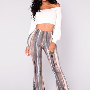 Mona Print Pants - Brown/Multi
