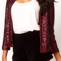 Red Long Sleeve Sequined Blazer