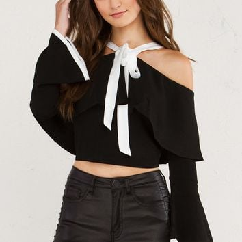 PARIS AWAITS OFF THE SHOULDER LONGSLEEVE TOP - What's New