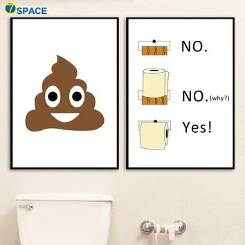 Bathroom Wall Art: Poop Emoji Wall Art Canvas Prints for Bathroom Decor