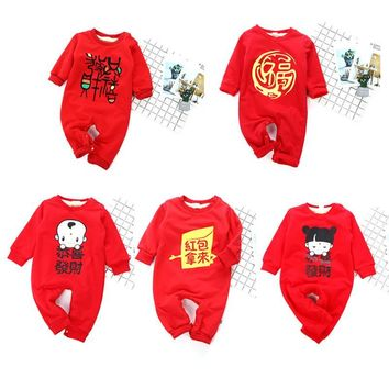 Baby Clothes 2018 Newborn Chinese Style Baby Rompers Autumn Winter Velvet New Year Lucky Money And Fortune Cotton Baby Costume