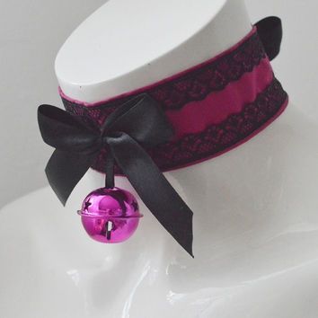 Devil's girl - black and dark magenta pink gothic choker with big bell - lolita kitten pet play collar