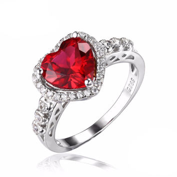 Silver 2.7ct  Lab Created Ruby Halo Promise Ring