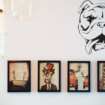 Bulldog Vinyl Wall Decal (Removable Sticker)