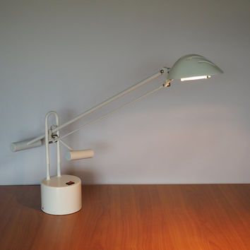 1980s Modern White Halogen Desk Lamp with Counter Weight Balancing Adjustment System