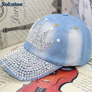 Sokotoo Women's fashion crown rhinestone pearl baseball cap Female casual denim hat for summer Free shipping