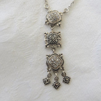 Art Deco Necklace, Sterling Marcasite Dangle Pendant, 16 Inch Chain, Vintage Jewelry