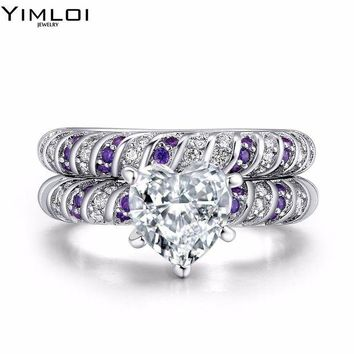 ac spbest 2017 New Fashion Wedding Rings Stainless Steel Double Row Frosted Rings Purple Crystal Titanium Steel anillos For Women RDD027