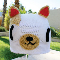 Cake the Cat Inspired Hat: Adventure Time -ish Cartoon Kawaii Handmade Crochet Beanie Hat