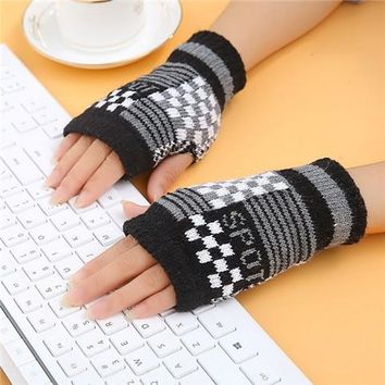 women gloves Stylish hand warmer winter gloves women Arm Crochet Knitting faux Wool Mitten warm Fingerless Gloves