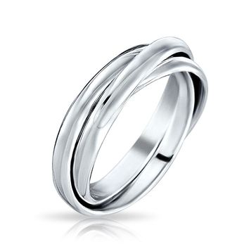 925 Sterling Silver Dome Rolling Russian Couples Wedding Band Ring