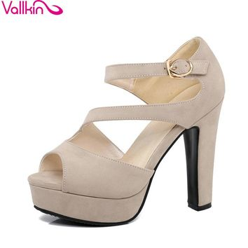 VALLKIN 2017 Buckle Strap High Heel Woman Pumps Sexy Peep Toe Gladiator Summer Women Shoes Platfrom Wedding Shoes Big Size 34-43