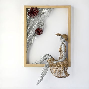 Metal wall art - Framed art - women sculpture - Home decor - Wire mesh sculpture -Contemporary art