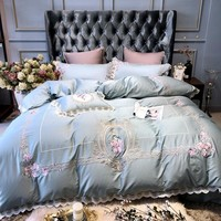Luxury royal princess Bedding Set queen king size egyptian cotton bed set decorative pillowcase Bed Sheet/linen Duvet Cover set