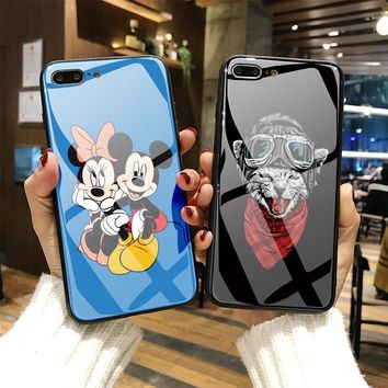Tempered Glass Phone Case for iPhone 8 X 6S 7 Plus Mickey Mouse capa cool cat Phone Cover Astronaut for iPhone 6 7Plus cases