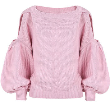 SW96 Celebrity Style Women Cut Out Shoulder Puffy Sleeve Crop Knitted Sweater Jumper Tops Pullover Knitwear 2014 Free Shipping