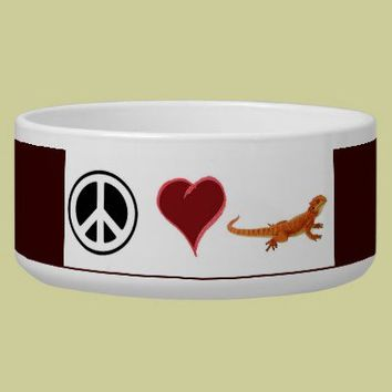 Bearded dragon bowl peace love dragons dog bowls from Zazzle.com