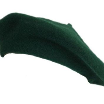 DCK4S2 100% Wool Kelly Green Beret French Parisian Hat