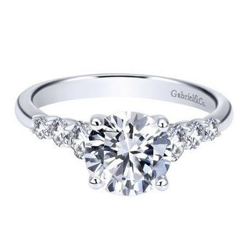 14K White Gold 1.50cttw Prong Set Graduated 7-Stone Round Diamond Engagement Ring