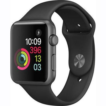 Apple Watch Series 1 38mm Gray Aluminum Case Black Sport Band *NEW*