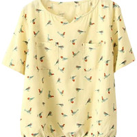 Birds Printed Short Sleeve Blouse