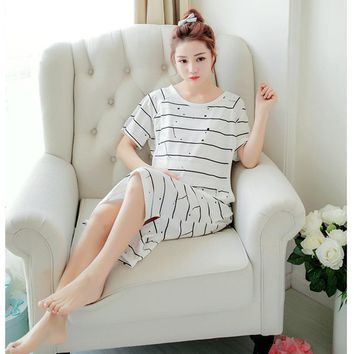 Maternity Nursing Striped Short Sleeve Nightgown