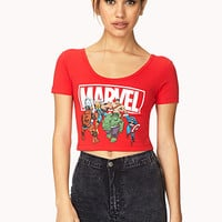 FOREVER 21 Marvel Superheroes Crop Top Red/White Large