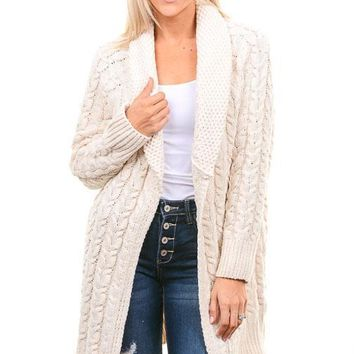 Ivory Chunky Cable Knit Cardigan