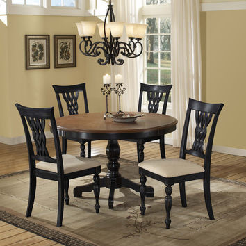102017 Embassy 5-Piece Dining Set -Rubbed Black/Cherry - Free Shipping!
