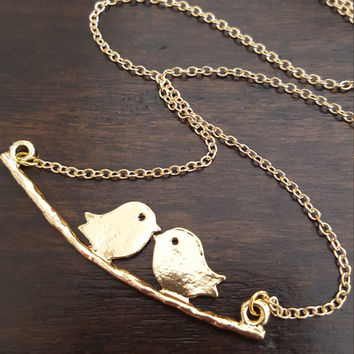 Delicate Necklace Brushed Birds on branch pendant Dainty Jewelry Gold Plated Jewelry Gift Necklace