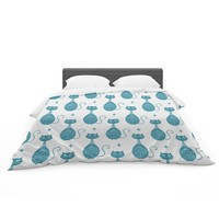 "Cristina Bianco Design ""Blue Cat Pattern"" White Animal Featherweight Duvet Cover"