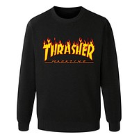 Thrasher Autumn and winter sweater male sportswear Black+(Yellow Letters)