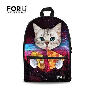 FORUDESIGNS Galaxy Cat Tumblr Canvas School Backpacks for Teenager Hipster Triangle Printing Middle Student Backpacks for Girls